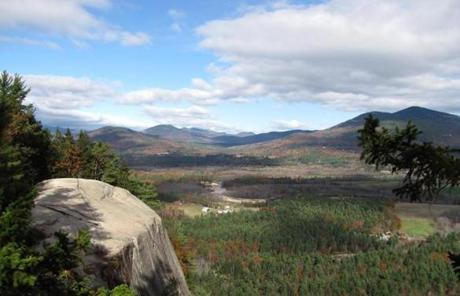 In North Conway, there is the view from Cathedral Ledge, in Echo Lake State Park.
